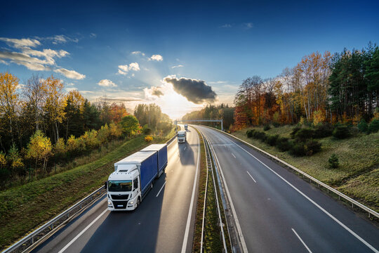 Three trucks driving on the asphalt highway in autumn forested landscape at sunset