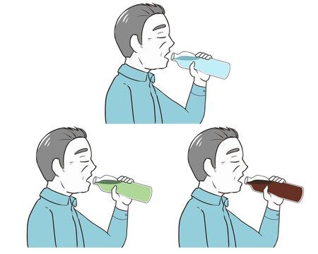 ペットボトルで飲む 目を瞑る 高齢男性
