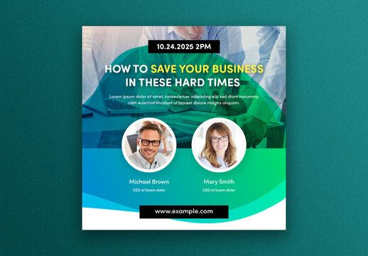 Business Webinar Social Media Post Layout with Photo Placeholders