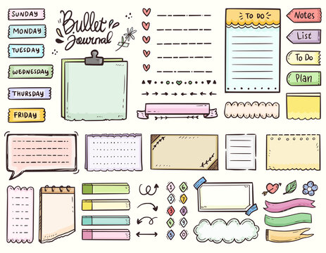Bullet journal and colorful frame notes to do list ornament drawing doodle vector collection