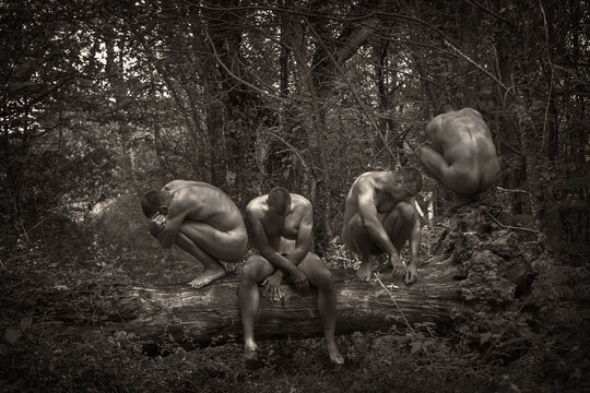 Multiple Image Of Naked Man Sitting On Fallen Tree In Forest