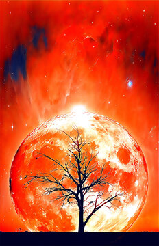 Fantasy book cover template - Lonely bare tree silhouette with huge planet rising behind it and galaxy in the sky - digital illustration. Elements of this image are furnished by NASA