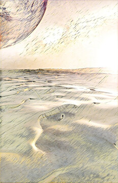 Book cover template format. Alien landscape of sunrise over pristine sand dunes with lonely person walking - digital illustration. Elements of this image furnished by NASA