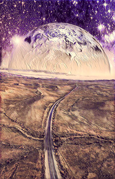 Alien planet rising over desert landscape with vivid starry sky and highway. Book cover template - digital illustration. Elements of this image are furnished by NASA