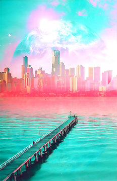 Science fiction book cover design. Alien planet landscape - pier stretching into the ocean at sunset with skyscrapers and planet digital illustration. Elements of this image are furnished by NASA