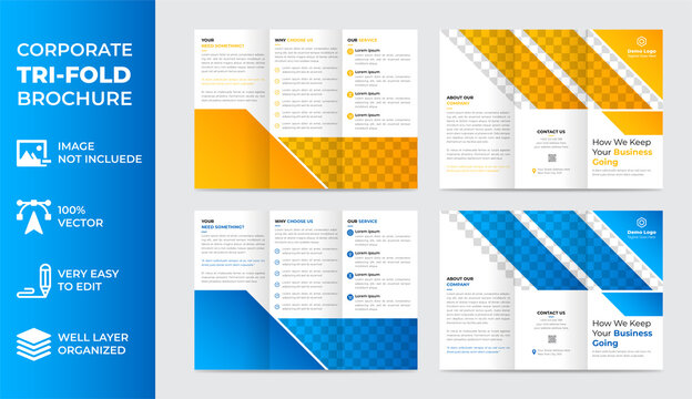 corporate tri fold brochure design, business flyer, professional brochure template, modern and unique brochure template