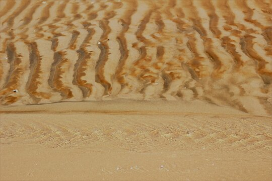 Nature background of a small inlet of water on a beach and ripples in the sand