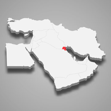 Kuwait country location within Middle East 3d map