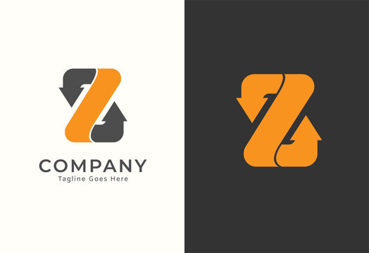 Abstract Letter Z  logo, letter Z and Arrow combination, isolated on white and dark colour background,  usable for business and logistic logos, vector illustration
