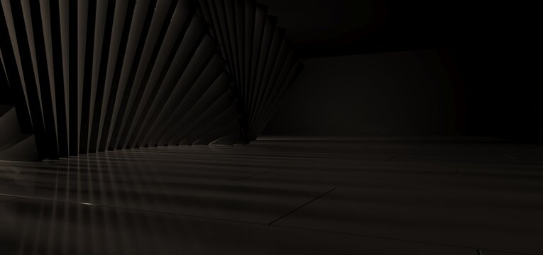 Luxury parametric abstract architectural minimalistic background. Contemporary showroom. Modern black exhibition tunnel. Empty gallery. Stand, table. Interior backlight. 3D illustration and rendering.