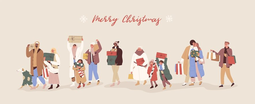 Horizontal banner with happy people walking and carrying wrapped gift boxes and Merry Christmas inscription. Men and women preparing presents for Xmas and New year. Colorful flat vector illustration