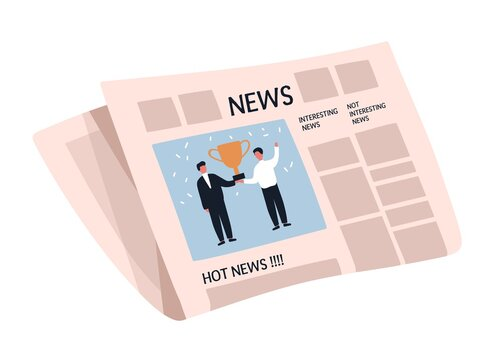 Weekly or daily newspaper with articles. News sheet with picture and text. Folded tabloid isolated on white background. Periodical press edition. Flat vector cartoon illustration