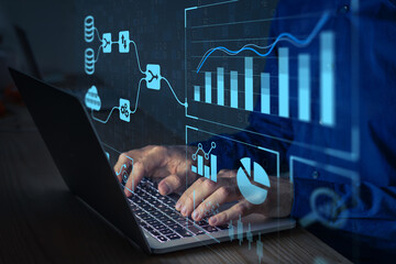 Obraz Analyst working with Business Analytics and Data Management System on computer to make report with KPI and metrics connected to database. Corporate strategy for finance, operations, sales, marketing - fototapety do salonu