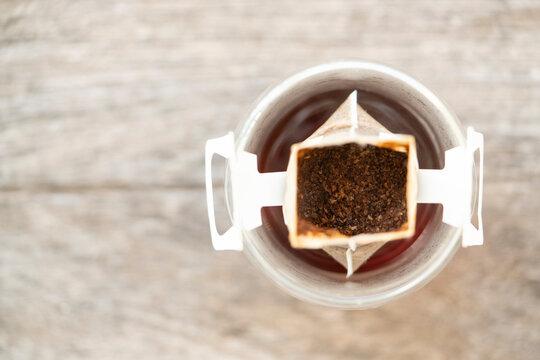 Instant freshly brewed cup of coffee,Drip bag fresh coffee