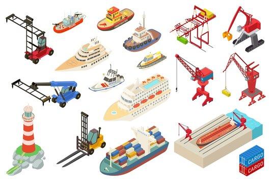 Marine port icons set. Isometric set of marine port vector icons for web design isolated on white background
