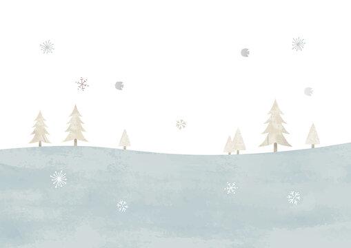 シンプルな雪の草原と木