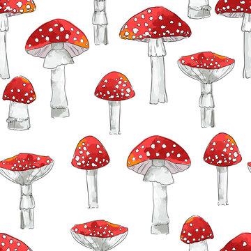 Hand drawn seamless pattern amanita mushrooms vector illustration