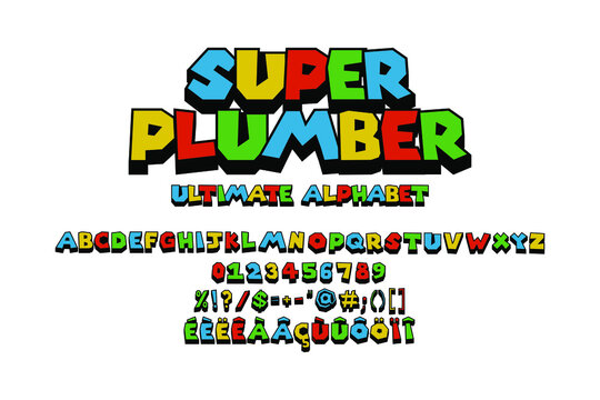 Fun video game colorful ultimate alphabet. Fake 3D vector typography illustration