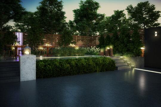 Ready for Dinner: Garden Restaurant (planning) - 3d visualization