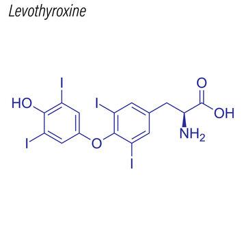 Vector Skeletal formula of Levothyroxine. Drug chemical molecule.