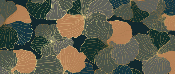 Fototapeta Luxury wallpaper design with floral and natural background. Lotus line arts design for fabric, prints and background texture, Vector illustration.