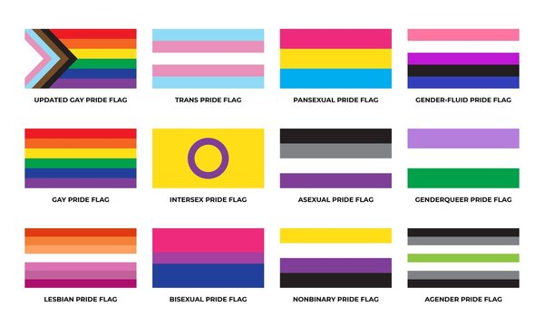 LGBTQ+ sexual identity pride flags collection. Flag of gay, transgender, bisexual, lesbian etc.