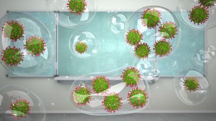 Aerosole mit Coronaviren im Klassenzimmer