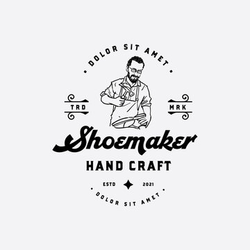Old experience shoemaker hand drawn logo concept design