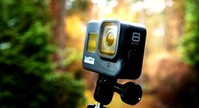 Gopro Hero 8 black action camera, close-up of the diagonalview of the small actioncam, installed on a ball head in Gifhorn, Germany, November 17, 2020