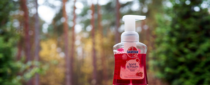 Sagrotan liquid soap for disinfecting and cleaning hands against a blurred background with dark bokeh in Gifhorn, Germany, November 17, 2020
