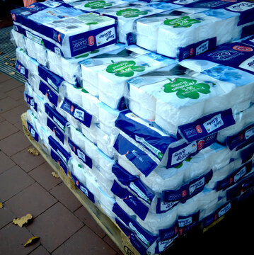 DM private label toilet paper of a discounter stacked on a euro-pallet in front of the entrance of the store in Gifhorn, Germany, November 17, 2020