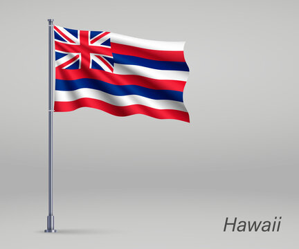 Waving flag of Hawaii - state of United States on flagpole. Template for independence day poster design