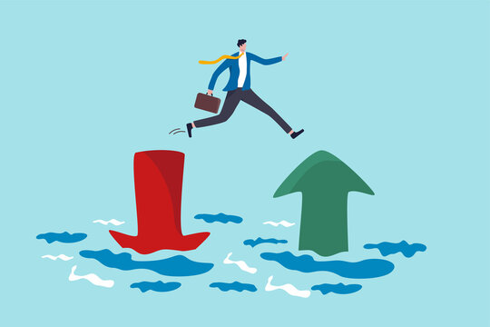 Financial plan, saving and investment or stock market rebound and economic recover concept, confidence businessman investor jump from red pointing down arrow to green rising up.