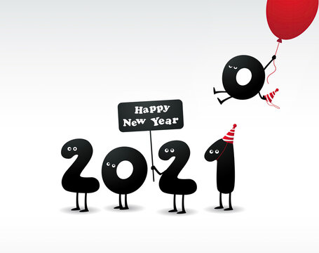 Happy new year 2021 greetings. Live Animated Figures 2021. The outgoing year 2020. Farewell to 2020. The onset of the new 2021. Start of the new 2021. New Year's illustration 2021. Happy New Year 2021