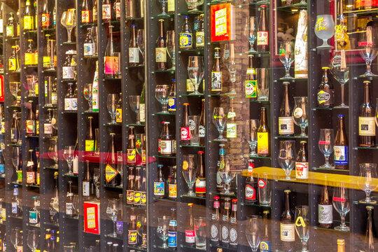 Beer in Bruges, Belguim with bottles and glasses