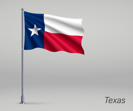 Waving flag of Texas - state of United States on flagpole. Template for independence day poster design