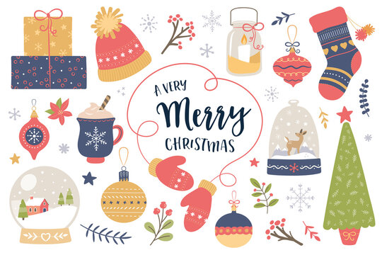 christmas-elementsVector set of holiday icons: Christmas ornaments, Christmas tree, candles, gifts, snow globe, baubles, stocking, snowflakes, cozy Christmas Scrapbook collection. Winter greeting card
