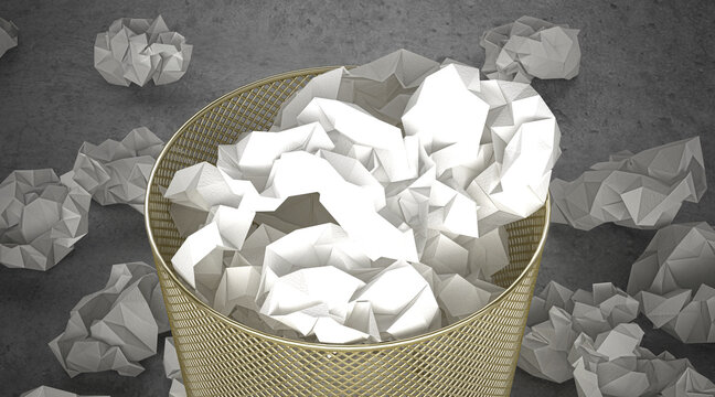 Garbage bin with crumpled up paper sheets, metaphorically thrown away ideas, 3d illustration, 3d rendering