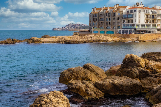 Detail of small town L Escala on the coast of Costa Brava