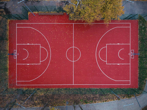 Aerial top view of the deserted basketball court
