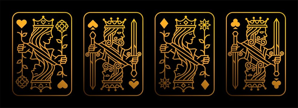 Golden King and queen playing card vector illustration set of hearts, Spade, Diamond and Club, Royal card design collection