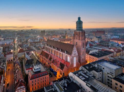 Wroclaw, Poland. Aerial view of St Elizabeth church on sunrise