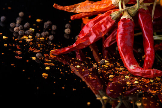 Chilli pepper on a black background