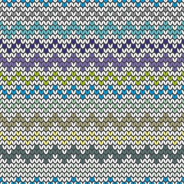 Tile blue and grey zig zag knitting pattern or winter background