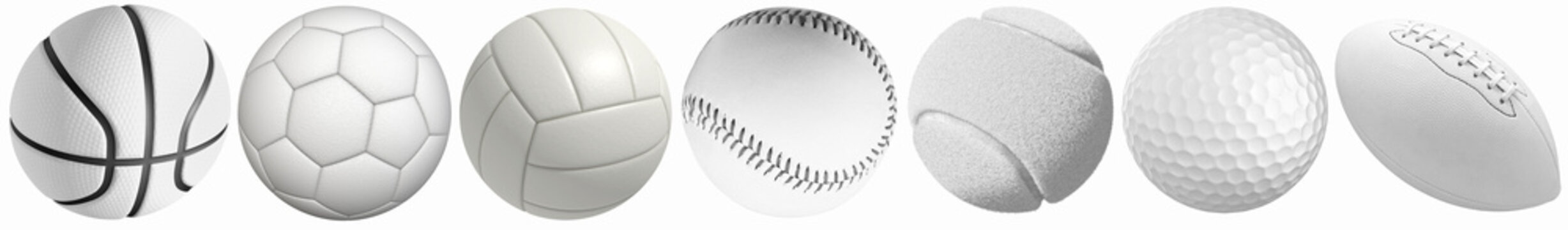Different sports balls in a row: golf, basketball, volleyball, football, tennis, rugby, baseball isolated on a white background.