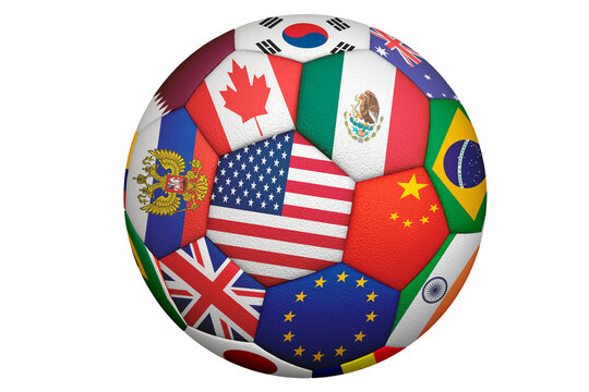 Soccer ball with several flags of the world isolated on white background. 3d rendering