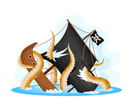 Octopus Tentacles Pulling Pirate Ship or Vessel to the Ocean Bottom Vector Illustration