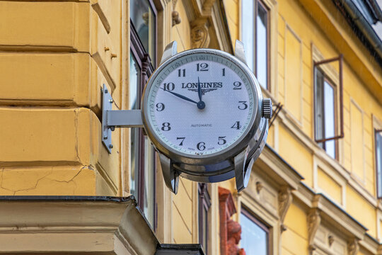 Longines Clock at Building in Ljubljana Slovenia