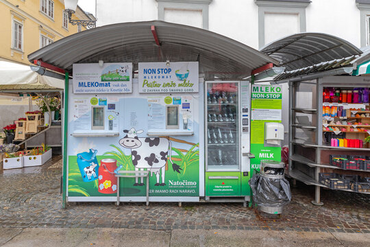 Milk Vending Machine at Farmers Market in Ljubljana Slovenia