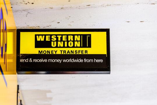 Northampton UK October 5, 2017: Western Union Money Transfer logo sign in Northampton town centre.